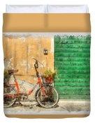 Lucca Italy Bike Watercolor Duvet Cover