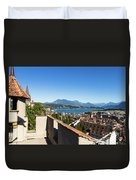 Lucerne Old Town In Switzerland Duvet Cover