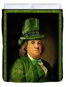 Lucky Ben Franklin In Green Duvet Cover