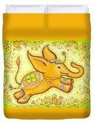 Lucky Elephant Orange Duvet Cover