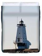 Ludington Lighthouse With Ice Duvet Cover