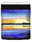 Ludington Sunrise Painting Duvet Cover