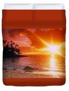 Lumahai Beach Sunset Duvet Cover