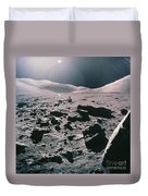 Lunar Rover At Rim Of Camelot Crater Duvet Cover by NASA / Science Source