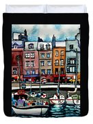 Lunch At The Harbor Duvet Cover