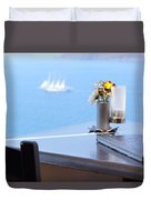 Lunch Over Santorini Duvet Cover