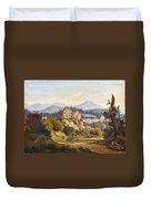Lunde, Anders Christian Copenhagen 1809 - 1886 Grotta Ferrata. Oil On Canvas. Relined Duvet Cover