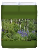 Lupine And Aspens Duvet Cover