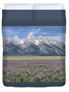 Lupine And Grand Tetons Duvet Cover by Sandra Bronstein