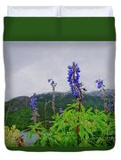 Lupine And Mountains Duvet Cover