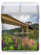 Lupine In Bloom By Sauvie Island Bridge Duvet Cover