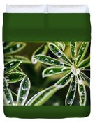 Lupine Leaves Decorated With Dew Drops Duvet Cover