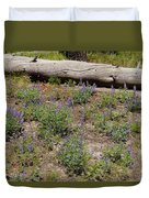 Lupines And A Log Duvet Cover