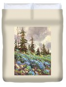 Lupines And Bluebells Duvet Cover