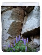 Lupines And Rock Face Duvet Cover