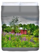 Lupines And The Red Barn Duvet Cover