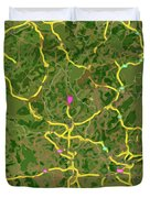 Luxembourg Green Traffic Map, Abstract Europe Map Duvet Cover