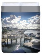 Luxury Boats Moored At Naples Island, Long Beach, Ca Duvet Cover
