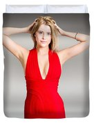 Luxury Female Fashion Model In Classy Red Dress Duvet Cover