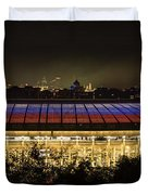 Luzhniki Stadium At Summer Night Against The Background Of The Ministry Of Foreign Affairs, The Cath Duvet Cover