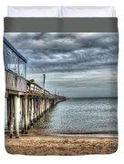 Lynnhaven Fishing Pier, Ocean Side Duvet Cover