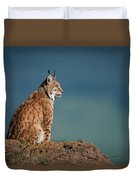 Lynx In Profile On Rock Looking Up Duvet Cover