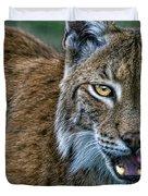 Lynx Licks Lips Duvet Cover