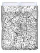 Lyon France Light Map Duvet Cover