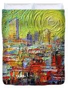 Lyon Sunrise Glow - Modern Impressionist Stylized Cityscape Duvet Cover