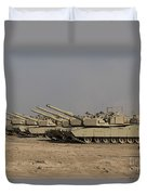 M1 Abrams Tanks At Camp Warhorse Duvet Cover