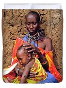 Maasai Grandmother And Child Duvet Cover