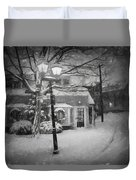 Mablehead Market Square Snowstorm Old Town Evening Black And White Painterly Duvet Cover