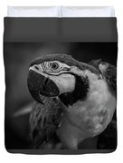 Macaw Portrait In Black And White Duvet Cover
