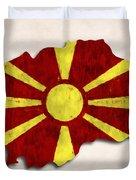 Macedonia Map Art With Flag Design Duvet Cover