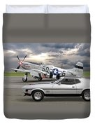 Mach 1 Mustang With P51  Duvet Cover