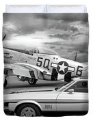 Mach 1 Mustang With P51 In Black And White Duvet Cover