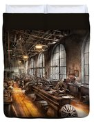 Machinist - A Room Full Of Lathes  Duvet Cover by Mike Savad