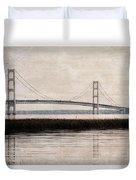 Mackinac Bridge Grunge Duvet Cover