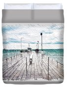 Mackinac Island Michigan Shuttle Pier Pa 02 Duvet Cover