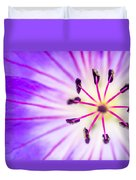 Macro Closeup Of A Purple Flower Stamen Duvet Cover