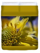 Macro Pollinating Fly Duvet Cover