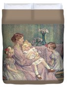 Madame Van De Velde And Her Children Duvet Cover by Theo van Rysselberghe