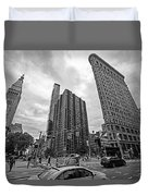 Madison Square Flatiron And Clock Tower New York Ny Black And White Duvet Cover