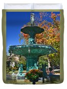 Madison Water Fountain In Fall Duvet Cover