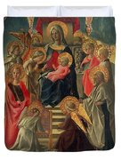 Madonna And Child Enthroned With Angels And Saints Duvet Cover