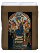 Madonna And Child Enthroned With Saints And Angels Duvet Cover