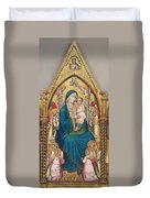 Madonna And Child Enthroned With Twelve Angels Duvet Cover