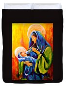 Madonna And Child Painting Duvet Cover