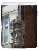 Madonna And Child Statue On The Corner Of A House In Bruges Duvet Cover