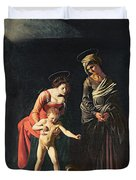 Madonna And Child With A Serpent Duvet Cover by Michelangelo Merisi da Caravaggio